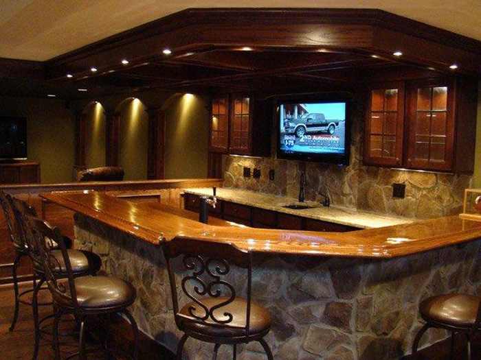 Custom Finished Basement · Custom Basement Bar